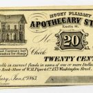 Roxbury, Mount Pleasant Apothecary Store, 20 Cents, Jan 1, 1863