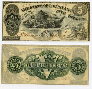 Louisiana, Baton Rouge, State of Louisiana, $5, October 10, 1862