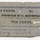 Louisiana, St Martinsville, Corporation of St. Martinsville, 10 Cents, 1862
