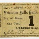 Maine, Lewiston, Androscoggin Mills, 1 Cent, 1863