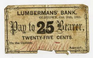 Maine, Oldtown, AM Hartwell, 25 Cents, Oct 28, 1862