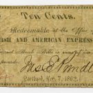 Maine, Portland, British and American Express Co., 10 Cents, 1862