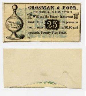 Maine, Portland, Crosman & Poor, 25 Cents, 1860s