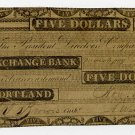 Maine, Portland, Exchange Bank, $5, Nov 1, 1832