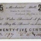 Maine, Portland, EE (L?)Sittle, Mechanics Hall, 25 Cents, 1862