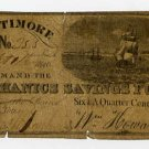 Baltimore, Mechanics Savings Fund, 6 1/4 Cents, Sept 1, 1840