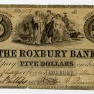 Roxbury, Roxbury Bank, $5, March 26, 1838