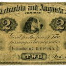 Charlotte, Columbia and Augusta RailRoad 2 (Dollars), 1873
