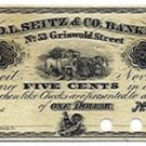 Michigan, Detroit, Fred L. Seitz & Co., 5 Cents, November 1, 1862
