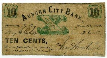New York, Auburn, August Howland, Auburn City Bank, 10 Cents, Nov 1, 1862