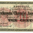 New York, Brooklyn, Merchants Change Association, 10 Cents, July, 1862