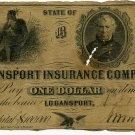 Indiana, Logansport Insurance Company, $1, Aug 1, 1852