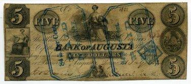 Georgia, Augusta, Bank of Augusta, 5 Dollars, July 1, 1852