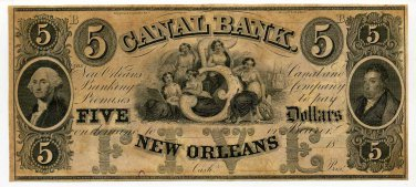 Louisiana, New Orleans, Canal Bank, $5, 18--, (1850s)