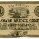 New Jersey, Lambertville, New Hope Delaware Bridge Company, $50, 18--,(1830s)