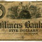 Iowa, Dubuque, Miners Bank, $5, 18--, (late 1830s)