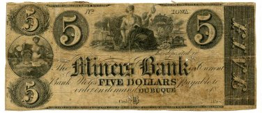 Iowa, Dubuque, Miners Bank, $5, 18--, (late 1830s)