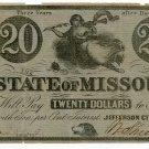 Missouri, Jefferson City, State of Missouri, $20, January 1, 1863