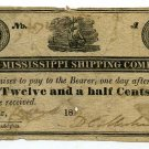 Mississippi, Natchez, Mississippi Shipping Company, 12 1/2 Cents, 1839