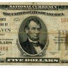 The Merchants National Bank of New Haven, $5, 1929 type 1, Charter #1128