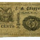 New York, Ilion, J.A. Chappell, 5 Cents, Unissued