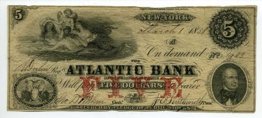 New York, Atlantic Bank of the City of New York, $5, March 1, 1858