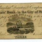 New York, NY,  Merchants' Bank, in the City of NY, $3, February 4, 1831