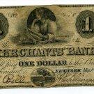 New York, NY,  Merchants' Bank, in the City of NY, $1, May 1, 1859