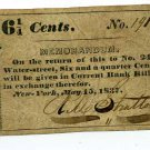 New York, New York City, R.M. Stratton, 6 1/4 cents, May 15, 1837