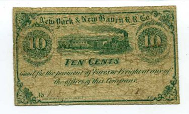 New York, New York City, NY & New Haven R.R. Co., 10 cents, 1860s