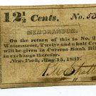 New York, New York City, R.M. Stratton, 12 1/2 cents, May 15, 1837