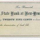 New Jersey, New Brunswick, Hagaman, Van Cleef and Dunhams, 25 Cents, 1862