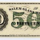 New Jersey, Salem, Salem Glass Works, 50 Cents, August 22, 1870