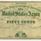 Ohio, Cincinnati, A Hirsh, Sutler of the 47th Regiment Ohio Volunteers, US Army, 50 Cts, Oct 9, 1862