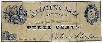 Pennsylvania, Allentown, Nathan Shafer, 3 Cents, December 1, 1863