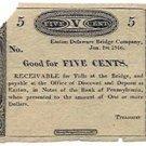 Pennsylvania, Easton, Easton Delaware Bridge Company, 5 Cents, January 1, 1816