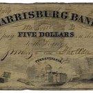 Pennsylvania, Harrisburg, The Harrisburg Bank, $5, January 1, 1853