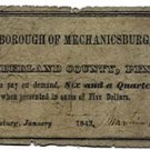 Pennsylvania, Mechanicsburg, 6 ¼ Cents, January 1843