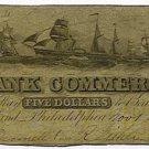 Pennsylvania, Philadelphia, The Bank of Commerce, $5, November 1, 1859