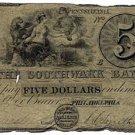 Pennsylvania, Philadelphia, The Southwark Bank, $5, May 1, 1847