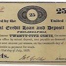 Pennsylvania, Philadelphia, Mutual Credit Loan and Deposit Office, 25 Cents, July 21, 1837