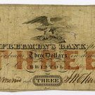 Rhode Island, Bristol, Freeman's Bank, $3, January 4, 1855?