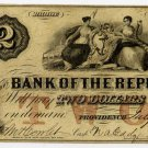 Rhode Island, Providence, Bank of the Republic, $2, July 30, 1855