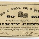 Virginia, Richmond, City of Richmond, 60 Cents, April 14, 1862