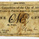 New York, Albany, Corporation of the City of Albany, 1 Cent, January 10, 1815