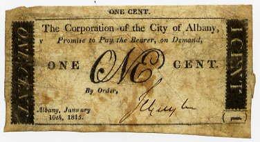 New York, Albany, Corporation of the City of Albany, 1 Cent, January 10, 1815
