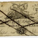 New York, Albany, New York State Bank, $3, no date, (1810s)