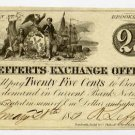 New York, Brooklyn, R. Lefferts Exchange Office, 25 Cents, Feb 20, 1851