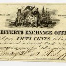 New York, Brooklyn, R. Lefferts Exchange Office, 50 Cents, Feb 20, 1851