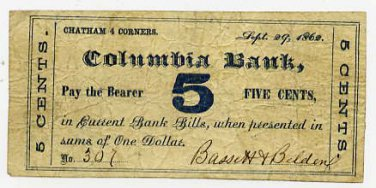 New York, Chatham Four Corners, Bassett and Belden, 5 Cents, Sept 29, 1862